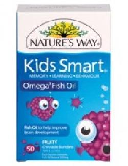 Kids Smart Omega 3 Fish Oil 50 Chewable SoftGel Burstlets Tablets Natures Way